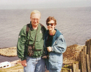 Elaine and Chris on the island of Staffa, off of Scotland